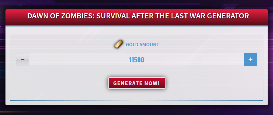 Free Generator for Dawn of Zombies: Survival after the Last War