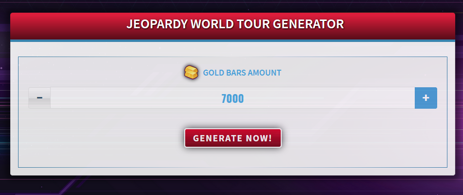 Free Generator for Jeopardy World Tour